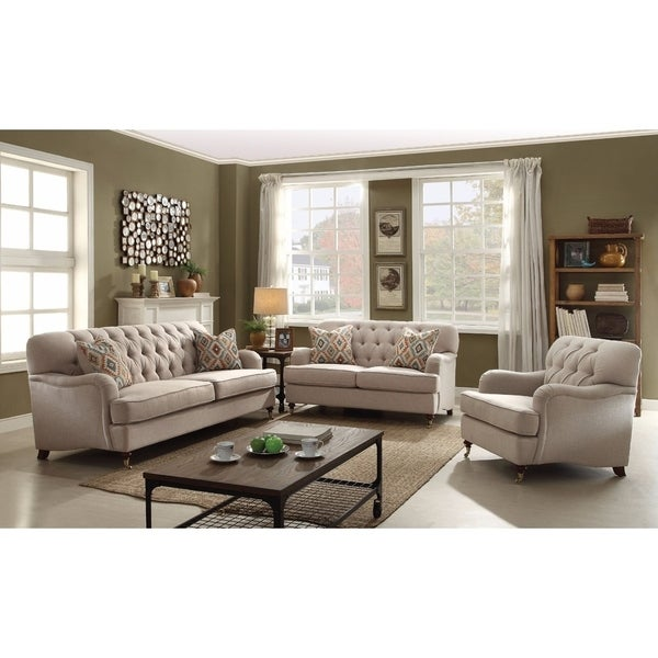 Debonair Sofa with 2 Pillows, Beige Fabric