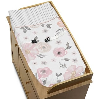Sweet Jojo Designs Changing Pad Cover for the Pink and Grey Watercolor Floral Collection