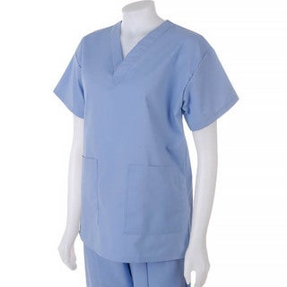 Medline Hospital Quality Women's Two Pocket Scrub Top Ciel Blue