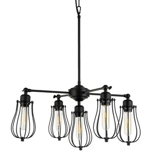 Cloote 5-Light Black Edison Chandelier Edison Bulbs Included