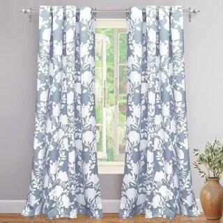 Porch & Den Nolana Floral Room Darkening Grommet Window Curtain Panel Pair