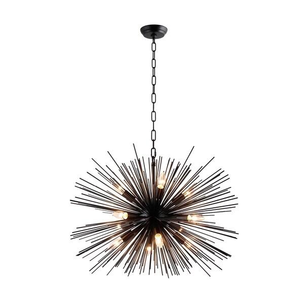 Y-Decor Black Metal/ Glass 12-light Chandelier 31666460