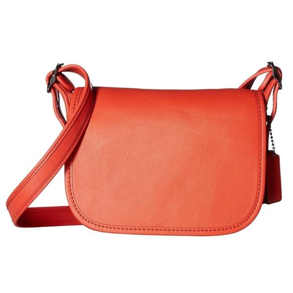 COACH Glovetanned Dark Antique Nickel/Deep Coral Leather Saddle Handbag
