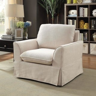 Furniture of America Nis Transitional Linen Fabric Padded Accent Chair