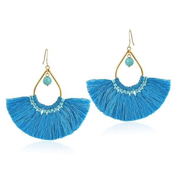 Chic Fan Shaped Tassels with Stone Bead Accent Brass Dangle Earrings 31684218