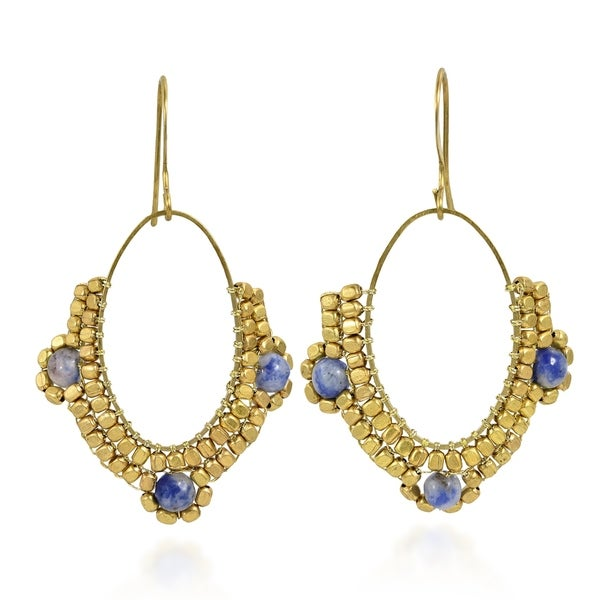 Oval Chandelier Beads and Lapis Brass Dangle Earrings (Thailand) 31696331