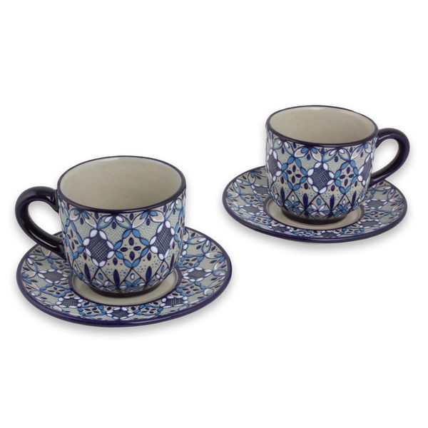 Ceramic Cups And Saucers, 'Blue Bajio' (Set For 2) (Mexico) 31698859