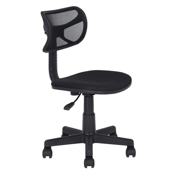 Small Size Mesh Cloth Office Chair without Armrest Black 31704256