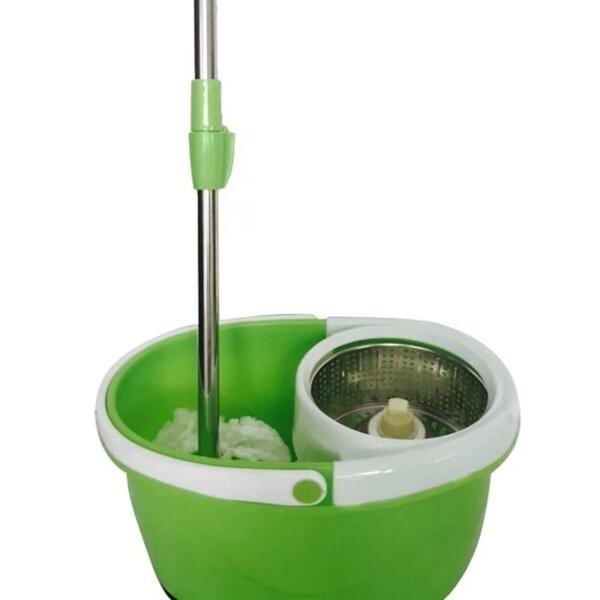 360 Rotary Head Slim Microfiber Mop Stainless Steel Bucket Green 31704716