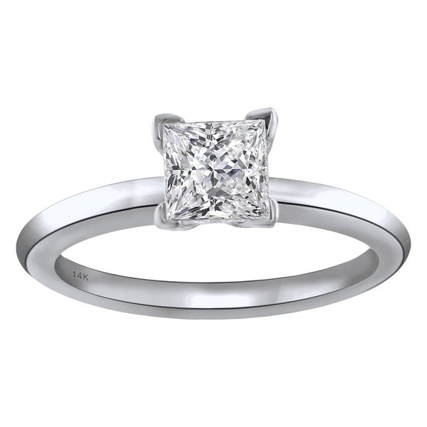14KT White Gold 1CTTW Princess Cut Diamond Solitaire Engagement Ring 31704749