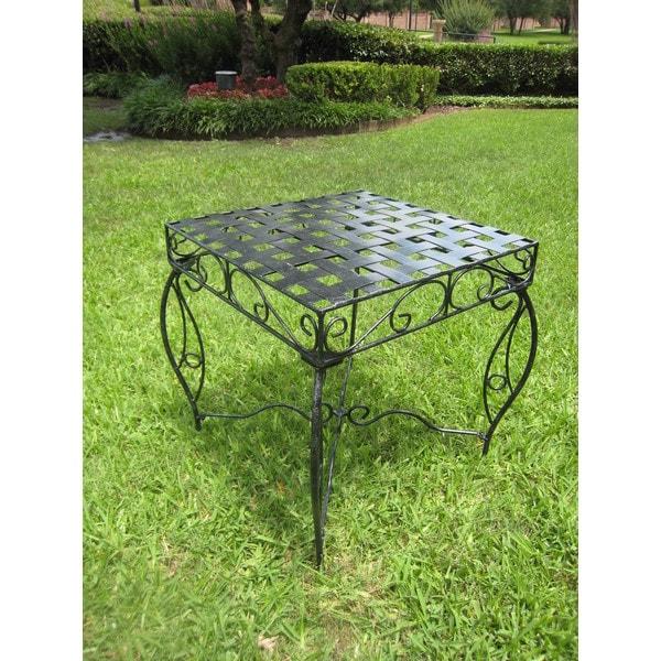 International Caravan Antique Black Square Iron Side Table