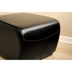 Jacob Black Bi Cast Leather Ottoman 10219083 Overstock