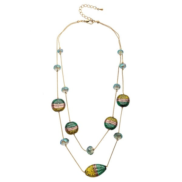 two row Illusion faceted and painted glass necklace 31706739