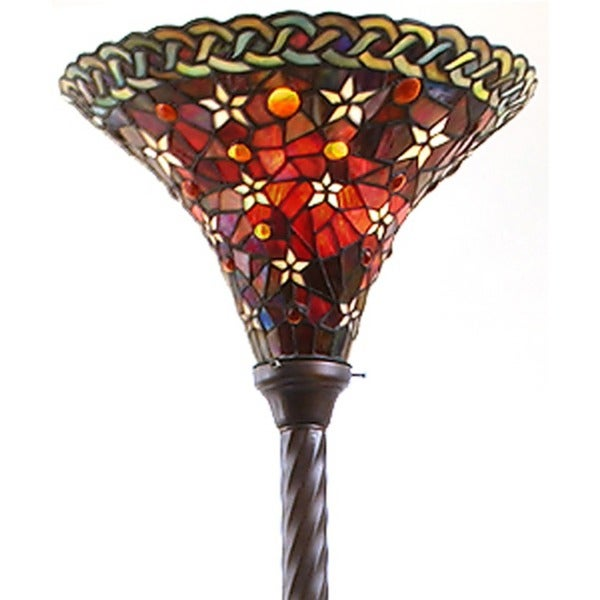 Tiffany-style Vintage Star Torchiere Lamp