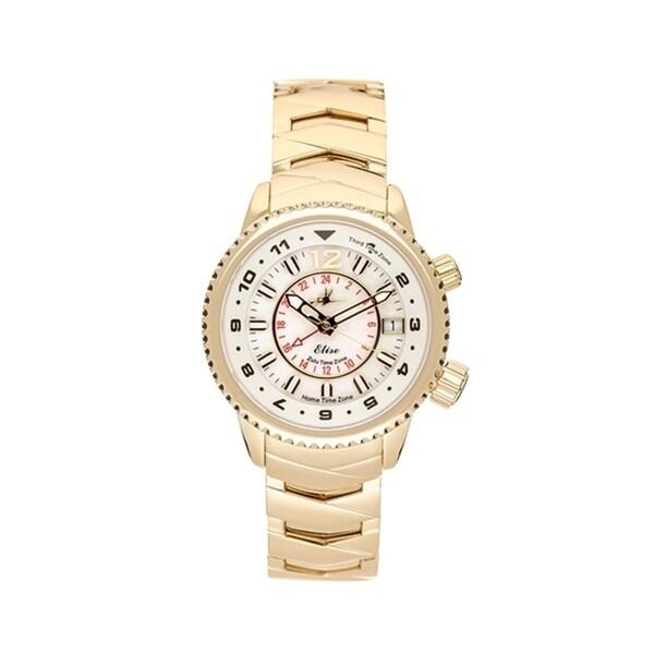 Abingdon Co. Elise Gold Women's Tri-Time Zone Quartz Travel Watch 31740608