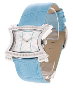 Krizia Women's Silver Dial Blue Strap Diamond Watch