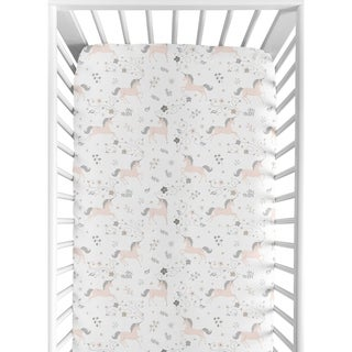 Sweet Jojo Designs Pink, Grey and Gold Unicorn Collection Fitted Crib Sheet