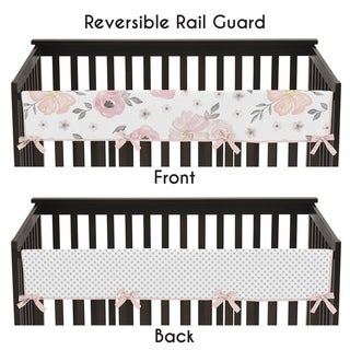 Sweet Jojo Designs Blush Pink, Grey and White Watercolor Floral Collection Long Crib Rail Guard Cover