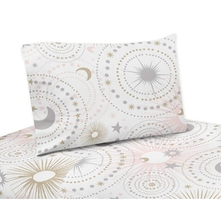 Sweet Jojo Designs Blush Pink, Gold, Grey and White Star and Moon Celestial Collection 4-piece Queen Bed Sheet Set