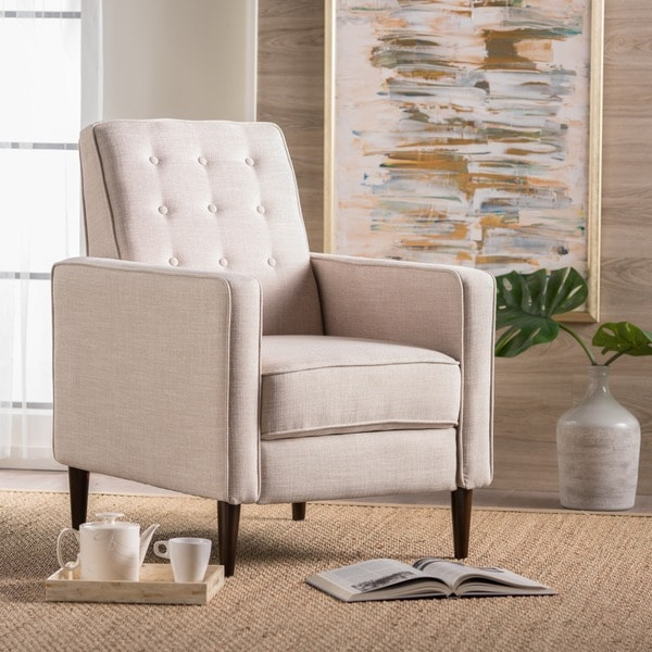 Mervynn Mid-Century Button Tufted Fabric Recliner Club Chair by Christopher Knight Home (As Is Item) 31787990