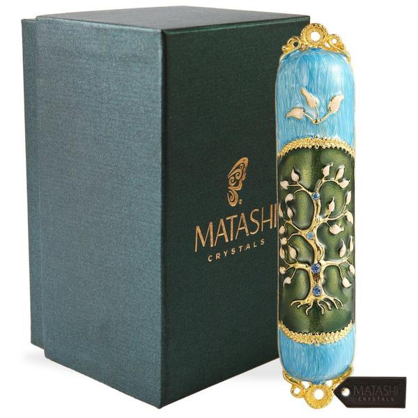 Hand Painted Enamel Mezuzah Embellished with a Tree of Life Design with Gold Accents and High Quality Crystals by Matashi 31796090