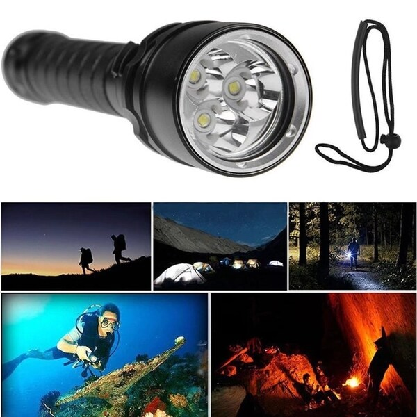 3 Cree XM-L U2 4000 Lumens Underwater 100m LED Diving Flashlight with 2pcs 18650 and Dual Charger 3204