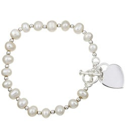 Sterling Essentials Sterling Silver 6-inch Freshwater Pearl Child's Bracelet