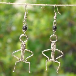Silver Electroplated People Sitting Earrings (Kenya)