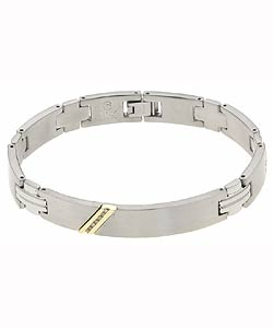 10k Yellow Gold Men's Steel Diamond Bracelet