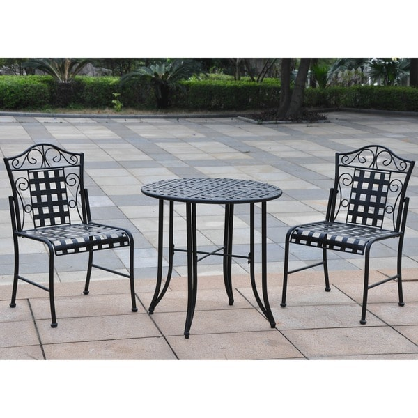 black iron 3 piece patio bistro set outdoor furniture chairs table