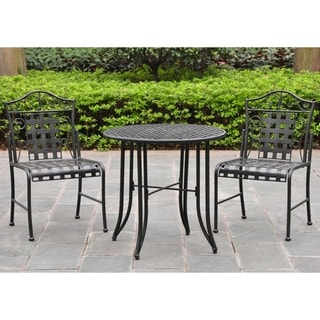 International Caravan Black Iron 3-piece Patio Bistro Set