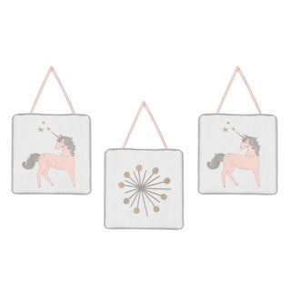 Sweet Jojo Designs Pink, Grey and Gold Unicorn Collection Wall Hangings (Set of 3)