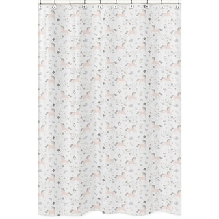 Sweet Jojo Designs Pink, Grey and Gold Unicorn Collection Bathroom Fabric Bath Shower Curtain