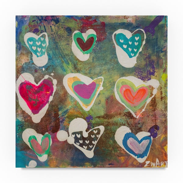 Zwart 'Heart Vibrations' Canvas Art 32043398