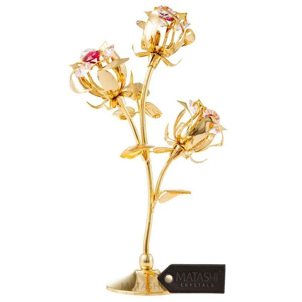 Matashi MTFL12980G Rose Flower Tabletop Ornament w/ Red & Pink Matashi Crystals--3 color options (Gold, Rose Gold, Silver) 32047414