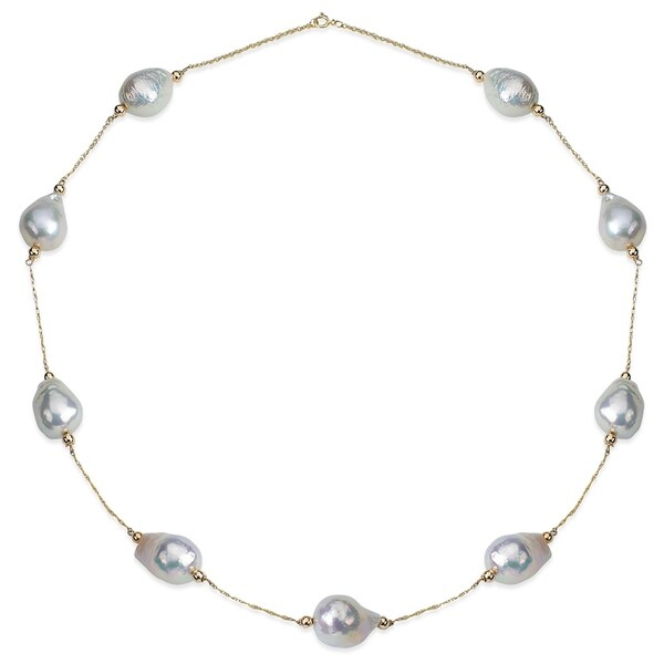 """PearlAura 14 Karat Gold 11-12mm White Baroque Cultured Freshwater Pearl Tin Cup Necklace 18"""" 32052466"""