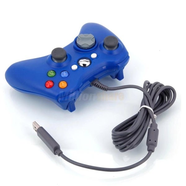 Wired USB Game Pad Controller for Microsoft Xbox 360 PC Windows 7 Blue 32057306