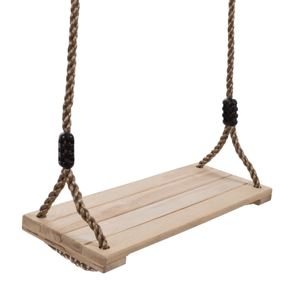 Wooden Swing, Outdoor Flat Bench Seat with Adjustable Nylon Hanging Rope for Kids Playset Frame or Tree Hey! Play! 32060578