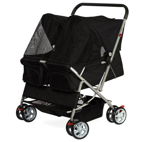 Paws & Pals Pet Twin Cat/Dog Foldable 4-Wheel Double Stroller 32069212