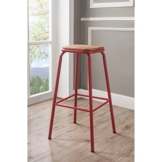 ACME Scarus Bar Stool in Natural and Red, Set of 2