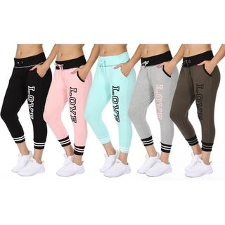 "Ladies ""Love"" Printed French Terry Jogger Pants 5-Pack 32083505"