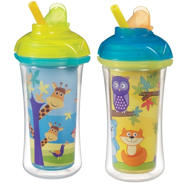 Munchkin Click Lock Decoreated Insulated Straw Cup 2 Pack - 9 Ounce - Giraffes & Forest 32083710