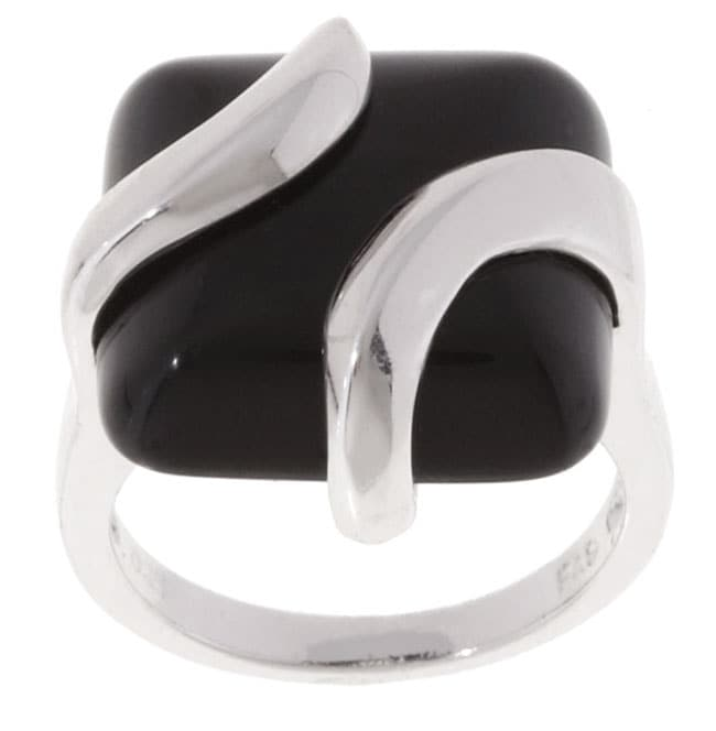 Glitzy Rocks Sterling Silver Square Black Onyx Ring