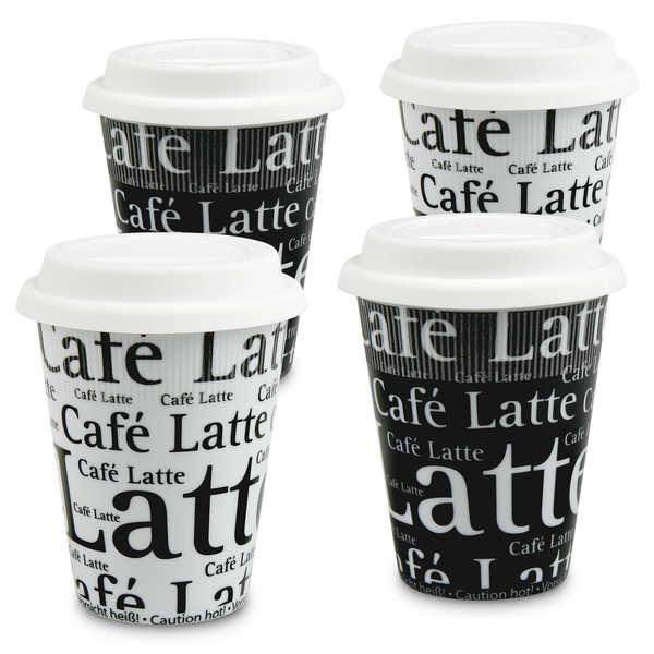 Konitz Set of 4 Assorted Cafe Latte Writing on Black and White Travel Mugs 32127849