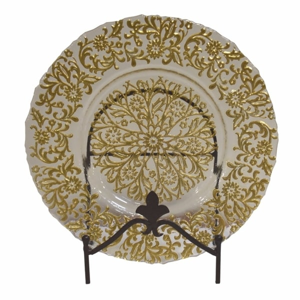 Elegantly Stylish Glass Charger Plate, Clear And Gold 32150083