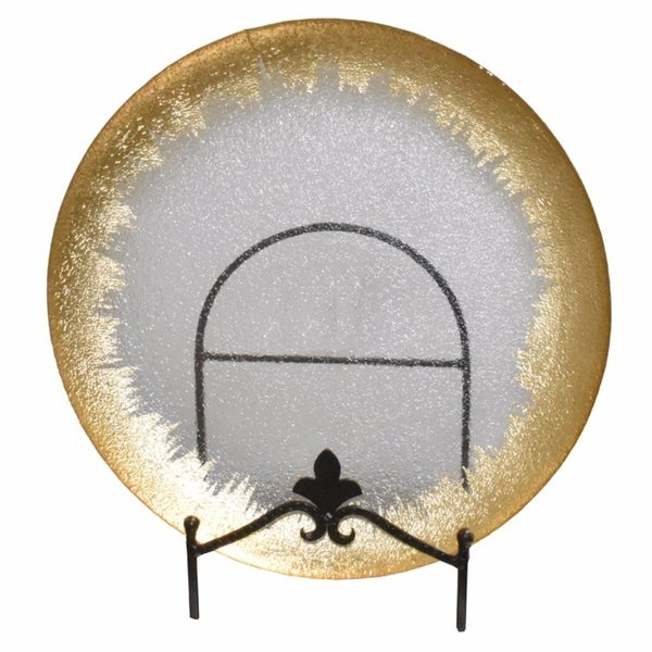 Striking Gold Rim Glass Charger, Clear 32150153