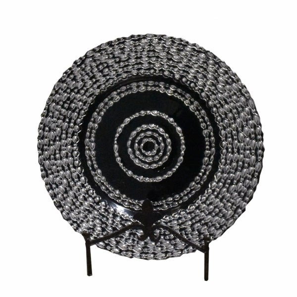 Beautiful Glass Charger With Engraved Pattern, Black And Silver 32150154