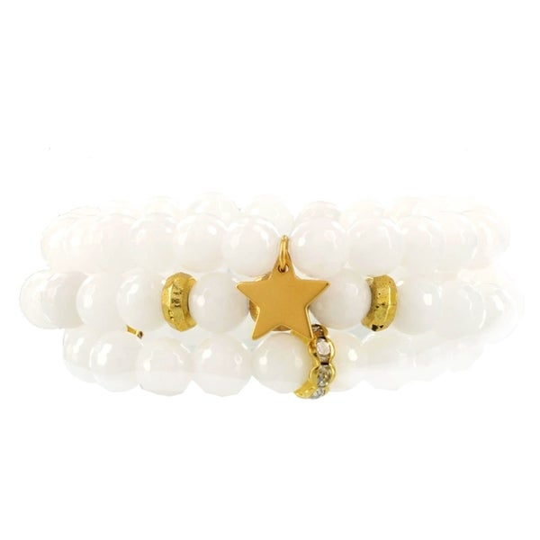 Fox and Baubles Faceted White Jade with Brass and Crystal Spacers, Brass Bead, Gold Plated Star Stretch Bracelets (Set of 3) 32162260