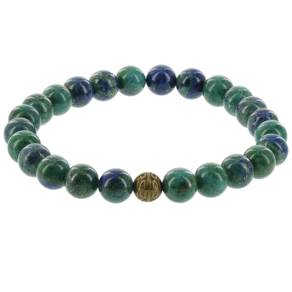 Fox and Baubles Men's Blue/Green Agate and Brass Bead Stretch Bracelet 32163161
