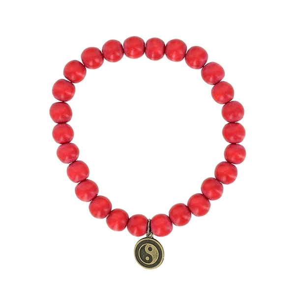 Fox and Baubles Dyed Red Wood and Brass Yin Yang Men's Stretch Bracelet 32163209